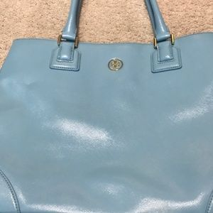Tory Burch Large Leather Tote Cloud Blue